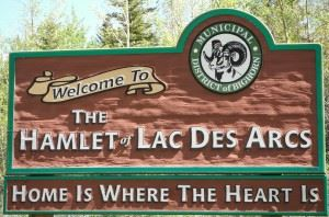 Sign for Hamlet of Lac Des Arcs